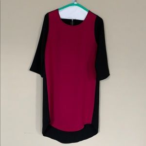 Everly Berry and Black high/low dress